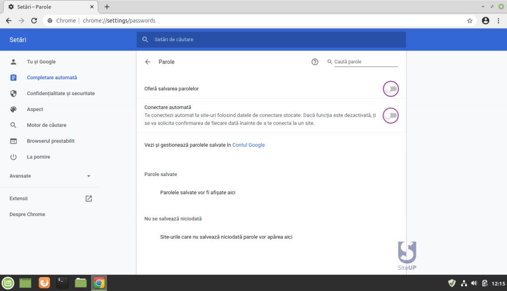 Chrome dezactivate salvare parole automat setari