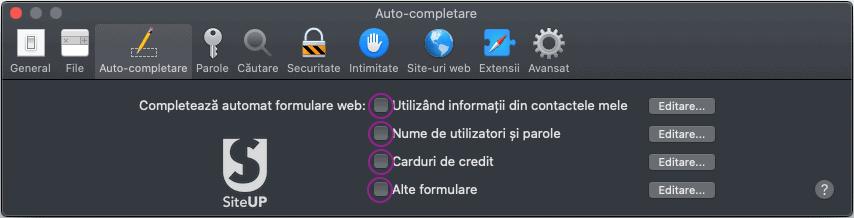 Safari browser auto-completare parole setari